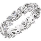 Diamond Granulated Scroll Design Eternity Band