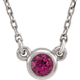 Gemstone or Diamond I₁ G-H Bezel Necklace