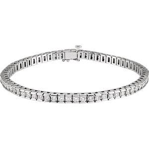 "14K White 4 CTW Diamond Line 7.25"" Bracelet"