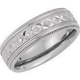 Titanium Diamond Cut Band with Milgrain