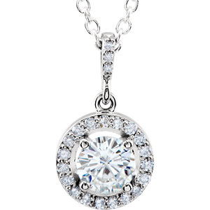 Aharles & Aolvard<br> Moissanite® & Diamond<br> Halo-Style Necklace