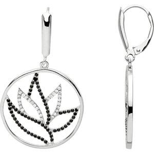 Black Spinel & Diamond<br> Earrings