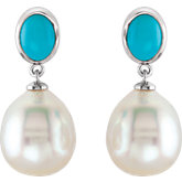 South Sea Cultured Pearl & Genuine Turquoise Earring