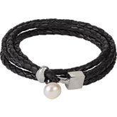 Braided Leather Wrap Bracelet with Pearl End