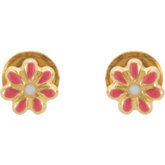 Youth Flower Earrings with Safety Backs & Gift Box