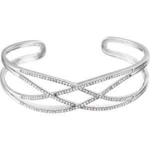 "14K White 3/4 CTW Diamond Criss-Cross Cuff 7"" Bracelet"
