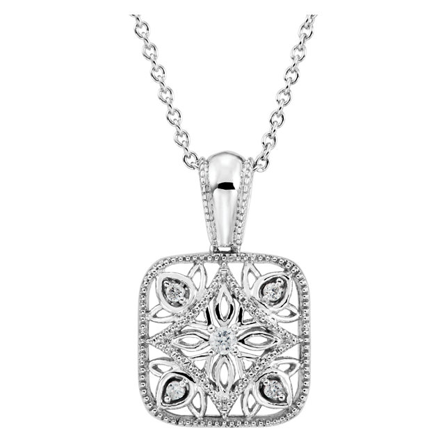 Sterling Silver .05 CTW Diamond Accented 18