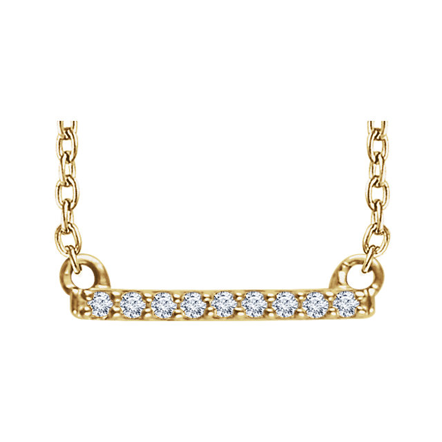"14kt Yellow .07 CTW Petite Diamond Bar 16-18"" Necklace"