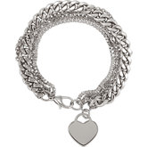 Stainless Steel Multiple Chain with Heart Bracelet