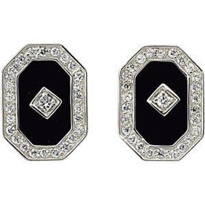 Onyx & Aubic Zirconia<br> Earrings