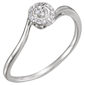 14K White .07 CTW Diamond Ring