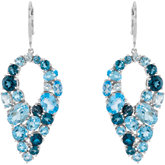 Genuine Sky Blue Topaz, Swiss Blue Topaz & London Blue Topaz Lever Back Earrings