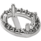 Oval 4-Prong Halo-Style Setting for Earring Assenbly