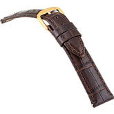 16mm Ladies Regular Alligator Grain Padded Brown Watch Strap