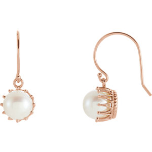 Freshwater Cultured Pearl Crown Dangle Earrings