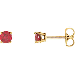 14kt Yellow 4mm Round<br> Ruby Earrings