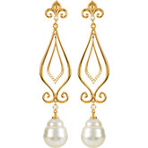 Scroll Design Dangle Earring with Fleur-de-Lis for Pearl