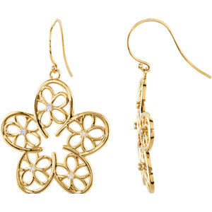 14kt Yellow 1/6 ATW<br> Diamond Floral Design<br> Earrings