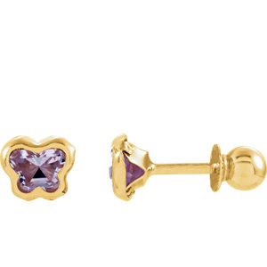 BNatural™ Youth CZ Birthstone Butterfly Earrings