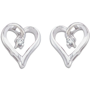14K White .04 CTW Diamond Heart Earrings