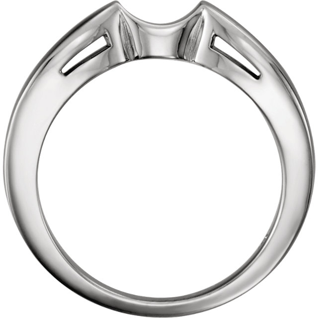 14K White Band for 7.4mm Round Engagement Ring