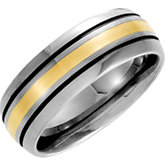 8.3mm Dura Tungsten® Slight Domed  Black Antiqued Band with 14kt Yellow Inlay