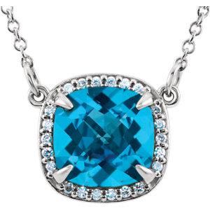 Diamond & Gemstone Halo-Styled Necklace