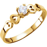 Youth CZ Hearts Ring