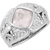 Genuine Rose Quartz Fleur-de-lis Ring