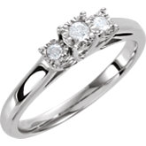 Diamond Sterling Silver 3 Stone Promise Ring