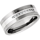 Dura Tungsten® & Sterling Silver Diamond Band