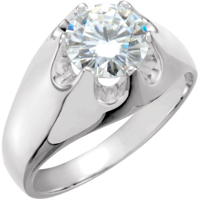 14K White 8.5mm Round Forever Classic™ Moissanite Belcher Ring