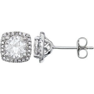 Sterling Silver White Sapphire & .015 CTW Diamond Earrings