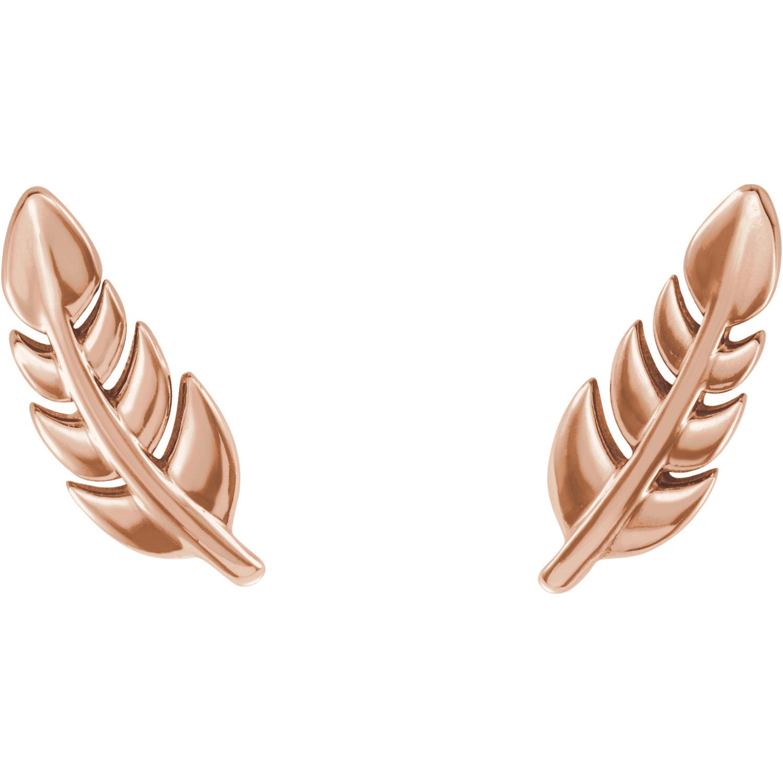14kt Rose Leaf Earrings