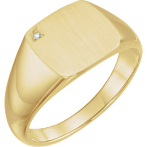 14K Yellow .0075 CTW Diamond Men's Signet Ring