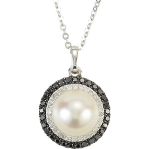 Freshwater Cultured Pearl & Diamond Halo-Styled Necklace or Semi-Mount