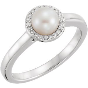 14kt White Freshwater<br> Aultured Pearl & . 5 ATW<br> Diamond Halo-Styled Ring