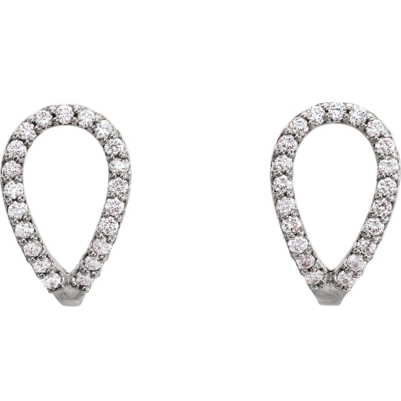 14kt White 1/5 CTW Diamond Geometric Earrings