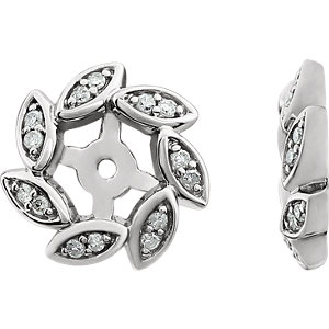 14K White 1/10 CTW Diamond Earring Jackets