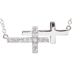 Diamond or CZ Double Cross Bracelet or Necklace