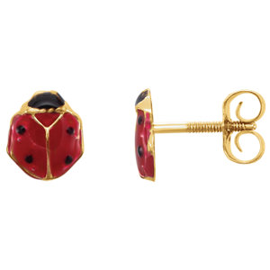 14K Yellow Ladybug Youth Earrings