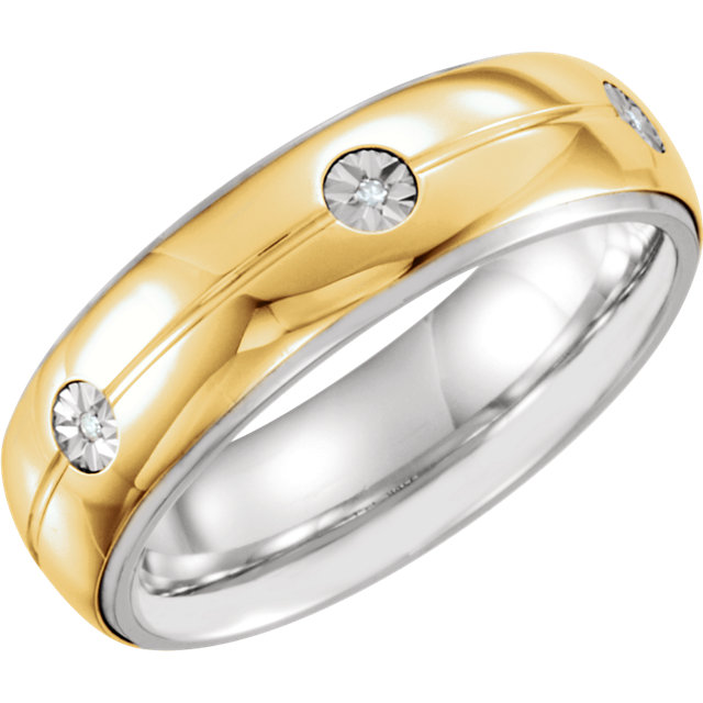 Sterling Silver & 10K Yellow 7mm .03 CTW Diamond Band Size 11