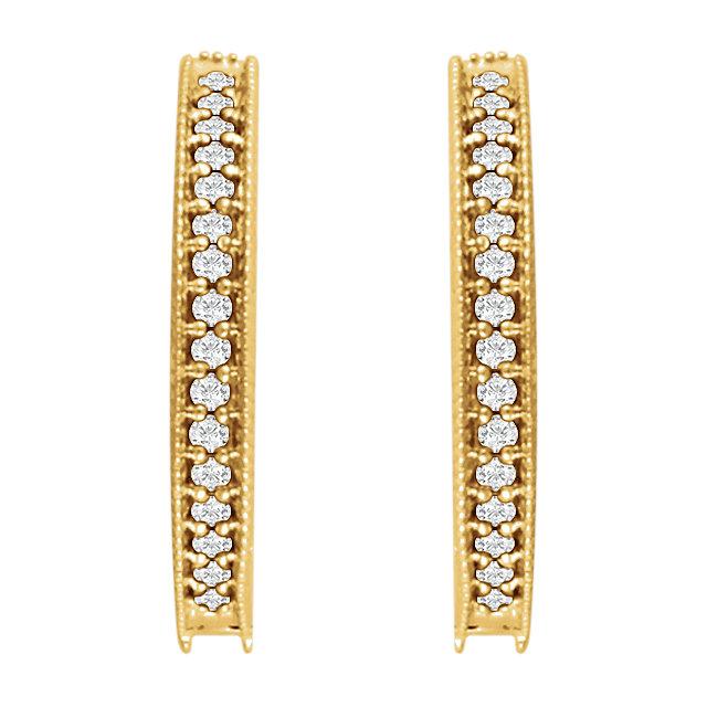 14K Yellow 1/5 CTW Diamond Milgrain Hoop Earrings