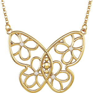 Butterfly & Floral Diamond Necklace or Center Mounting
