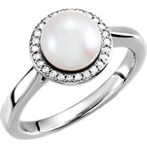 Freshwater Cultured Pearl & Diamond Halo-Styled Ring