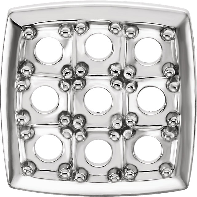 14kt White 1.7-2mm Round 9-Stone Cluster Top
