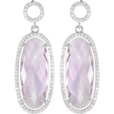 Halo-Style Oval Shaped Dangle Earrings