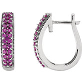 Gemstone Fashion Hoop Earrings
