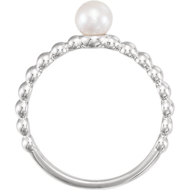 14K White 5.5-6mm Freshwater Cultured Pearl Ring