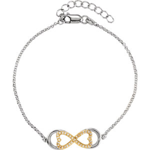 Gold Plated Silver .17 CTW Diamond Love for Infinity 7.25 inch Bracelet